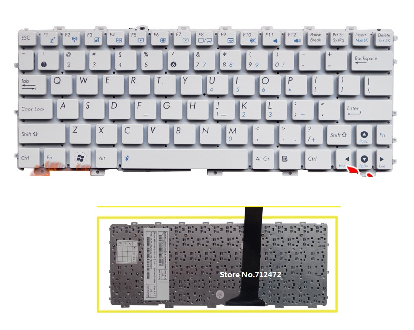 SSEA New US White Keyboard For Asus Eee PC EPC 1015 1015B 1015p 1015PN 1015PW 1015PX 1015T 1011px Laptop Free Shipping
