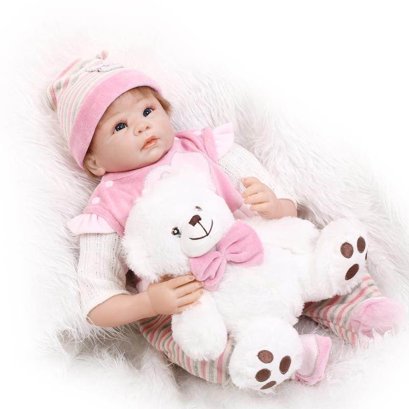 55cm Soft Body Silicone Reborn Baby Doll With Pink Clothes 1 Set For Girl Newborn Girl