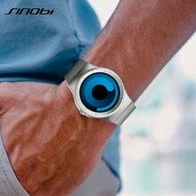 ماركة SINOBI ساعة كوارتز رياضية إبداعية للرجال بحزام من الفولاذ المقاوم للصدأ ساعات للرجال موضة 2019 ساعة دوران للرجال