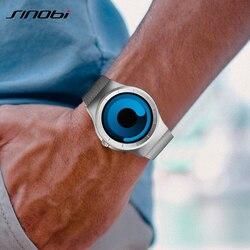 Sinobi marca criativa esportes relógio de quartzo dos homens cinta aço inoxidável relógios 2019 moda rotação relógio relogio masculino