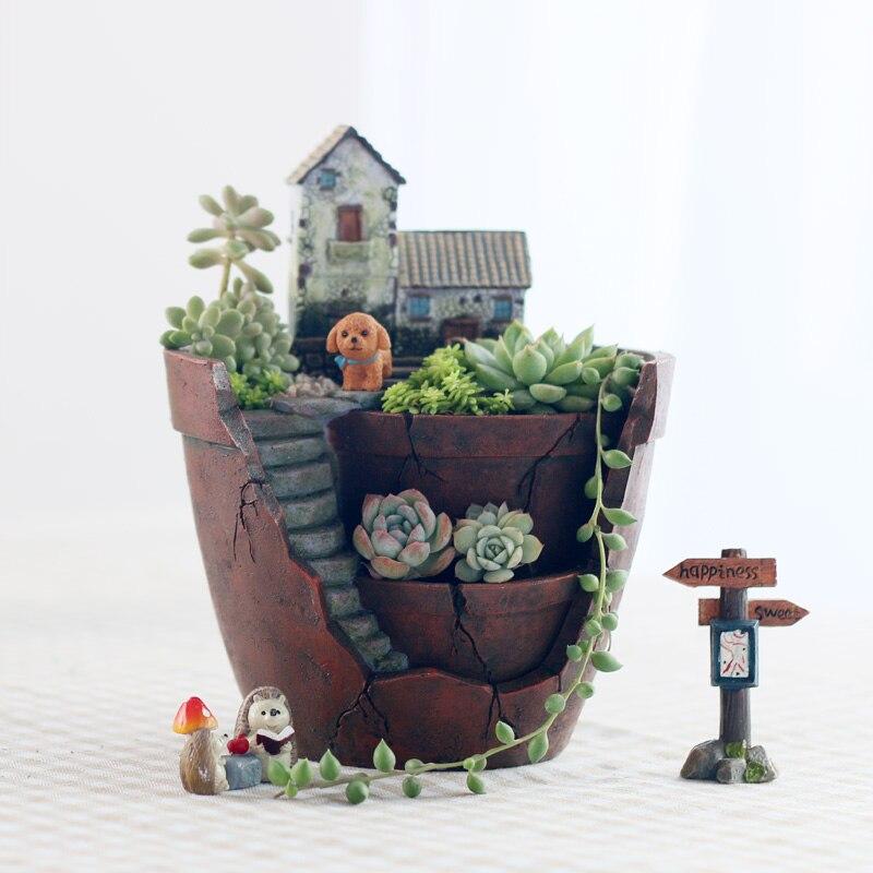 Image 3 - Roogo Fairy House Pots For Flowers Resin Sky Garden Flowerpot Home Garden Decorative Flower Pots Succulents Bonsai Pot-in Flower Pots & Planters from Home & Garden