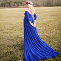 Fornecedor Vestido de Maternidade moda Vestidos Longos Para As Mulheres Grávidas Para tirar Fotos Tipo de Coleira Vestido Shoulderless vestido de verão