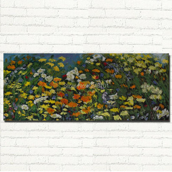 Handpainted modern large size flower field oil painting wall flower picture for home living room wall decoration