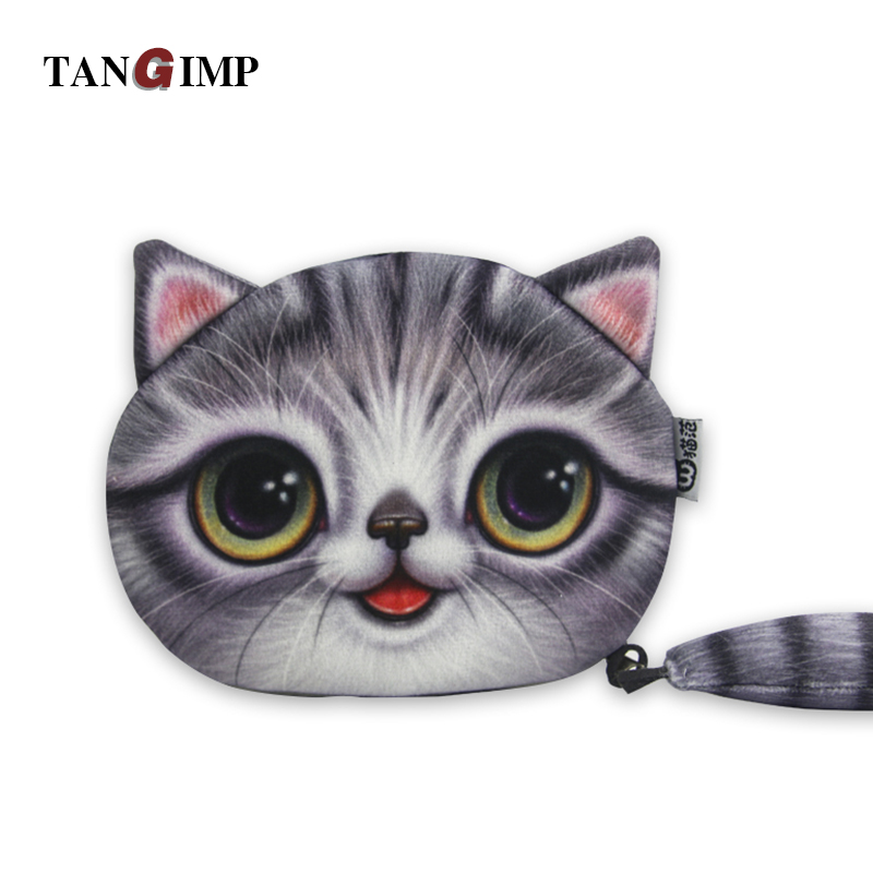 TANGIMP Coin Purses Wallet Ladies 3D Cats Cute Face Animal Big Face Change Fashion Cute Small Zipper bag for Women Change Purse 2015new ladies coin purses wallet 3d printing dog cat animal big face change fashion cute small zipper bag women