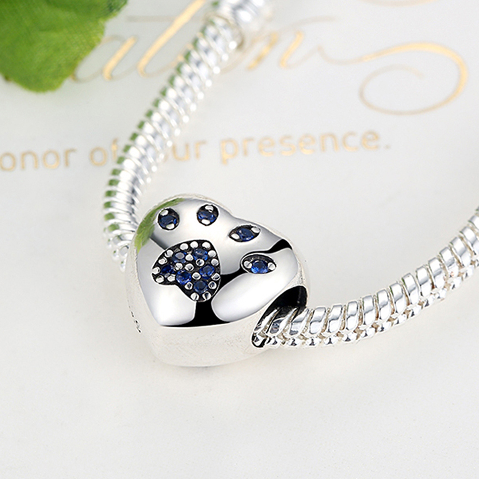 ELESHE Authentic 925 Sterling Silver Korálky Blue Crystal Pet Paw - Bižuterie - Fotografie 3