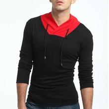 2018 Fashion Brand Turtleneck Slim Fit Long Sleeve T Shirt Men Fitness Camiseta Patchwork -Shirt Cotton Shirts
