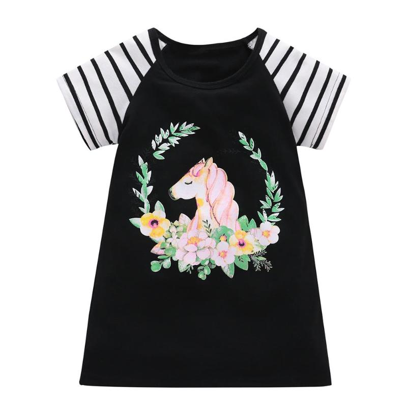 Fashional Cartoon Horse Print A-line Casual Dresses For Girls Mini Dress Stripe Short Sleeve Summer Costume Clothes for 1-7T Kid