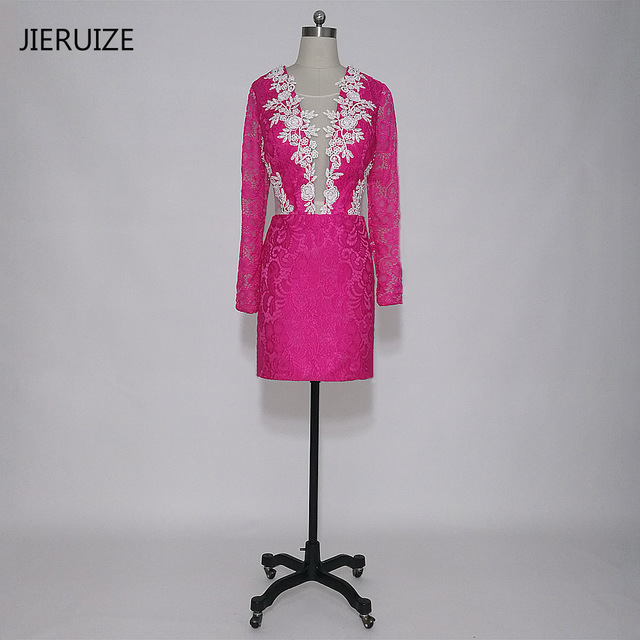 JIERUIZE Hot Pink Lace Short Prom Vestidos Mangas Largas Sheer ...
