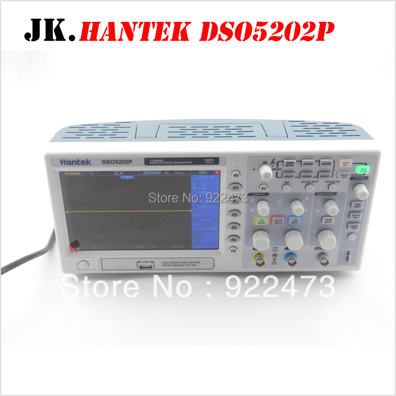 H006 Hantek DSO5202P Digital storage oscilloscope 7 ''TFT LCD Longueur D'enregistrement 24 k USB AC110-220V 200 mhz 2 Canaux 1GSa/s