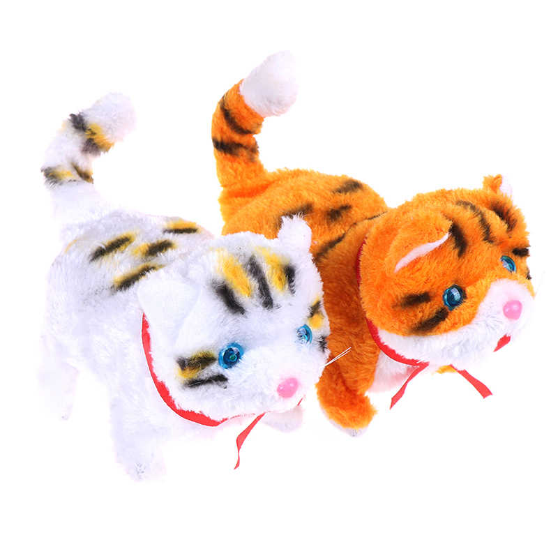ปีใหม่คริสต์มาสของเล่นสำหรับของขวัญเด็กอิเล็กทรอนิกส์สัตว์เลี้ยงไฟฟ้า cat เดิน Barking Musical Interactive หุ่นยนต์แมว