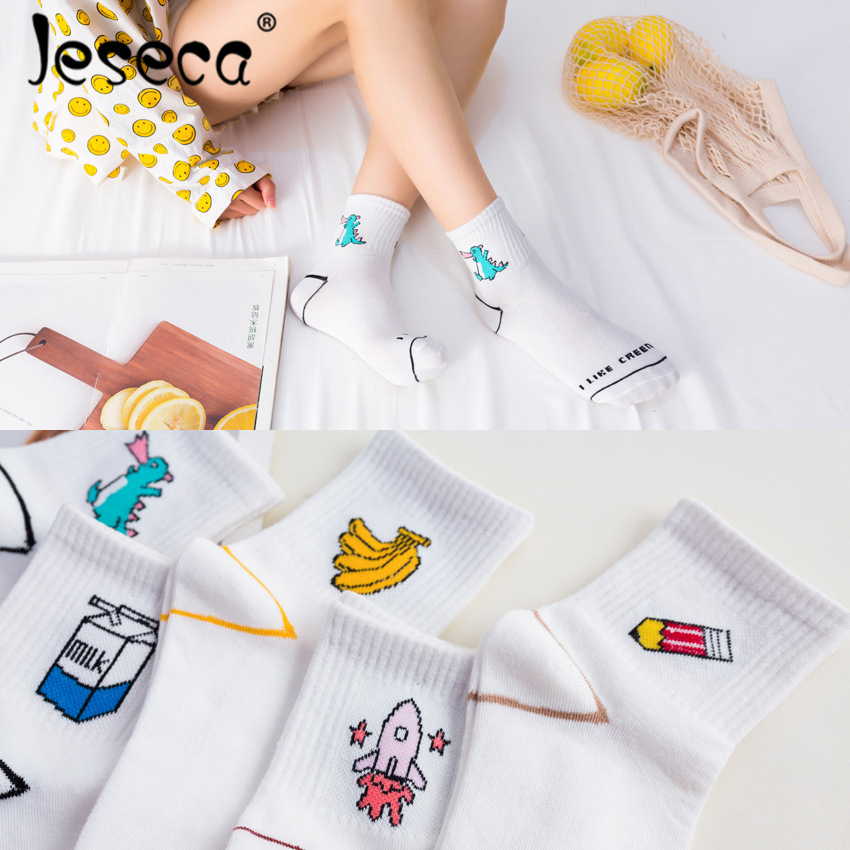 High Quality Women Fashion 2018 Kawaii Cartoon Dinosaur Fruit Printed   Socks   Harajuku Casual Girl Streetwear Funny   Socks