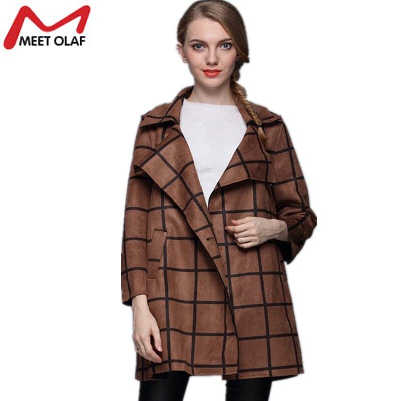 Для женщин замшевые Пальто для будущих мам Демисезонный Длинные свободные плед Тренчи для женщин Пальто для будущих мам Винтаж искусственн... ...