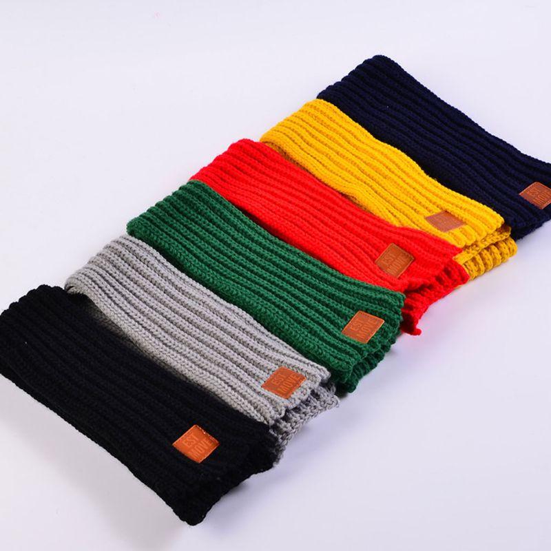 Детский вязаный шарф из акрилового волокна для мальчиков и девочек, плотная зимняя теплая шаль для шеи, шарфы с резиновыми буквами