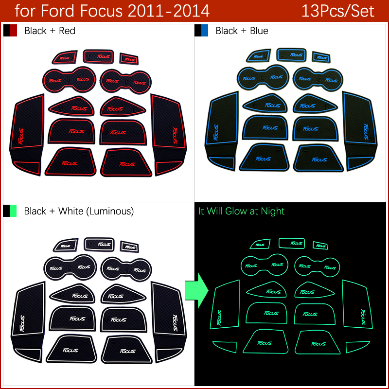 Image 4 - Anti Slip Gate Slot Mat Rubber Coaster for Ford Focus 3 MK3 2011 2012 2013 2014 pre facelift ST RS Accessories Car Stickers 13Pc-in Car Stickers from Automobiles & Motorcycles