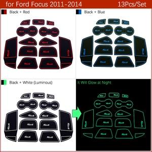 Image 4 - 안티 슬립 게이트 슬롯 매트 고무 코스터 Ford 포커스 3 MK3 2011 2012 2013 2014 pre facelift ST RS 액세서리 자동차 스티커 13Pc