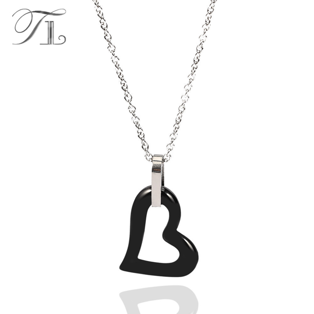 TL Black&White Ceramic Crooked Heart Necklace For Women Hollow Crooked Heart Special Design With Stainless Steel Extended Chain