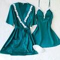 Lisacmvpnel correa de espagueti atractiva con la taza de las mujeres robe sets mujeres albornoz de las mujeres elegantes ropa de dormir camisón + bata