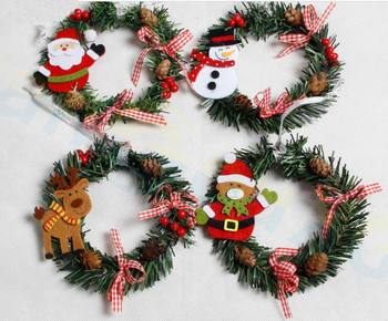 50pcs Santa Claus PVC small wreath window door decoration festival party wreath New Year Christmas ornaments Decoration props