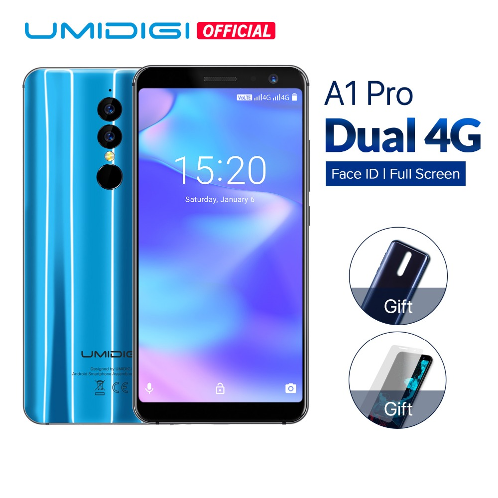 UMIDIGI A1 Pro Global Version Dual 4G LET Smartphone 18:9 Full Screen 3GB+16GB 3150mAh Android 8.1 Face ID MT6739 CellphoneUMIDIGI A1 Pro Global Version Dual 4G LET Smartphone 18:9 Full Screen 3GB+16GB 3150mAh Android 8.1 Face ID MT6739 Cellphone