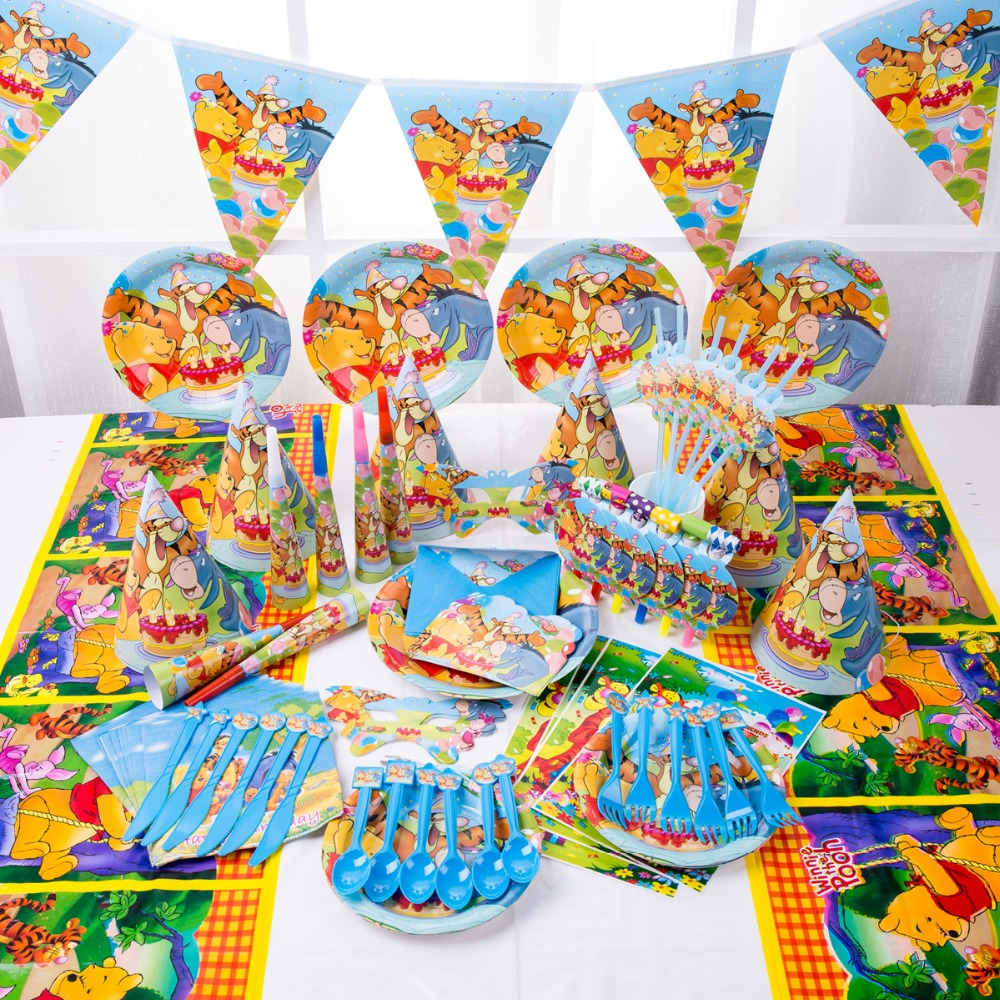 Cool Us 18 4 30 Off Disney 90Pc 16Kinds Luxury 1St Baby Boy Winnie The Pooh Happy Birthday Kids Party Decoration Disposable Tableware Set Supplier In Andrewgaddart Wooden Chair Designs For Living Room Andrewgaddartcom