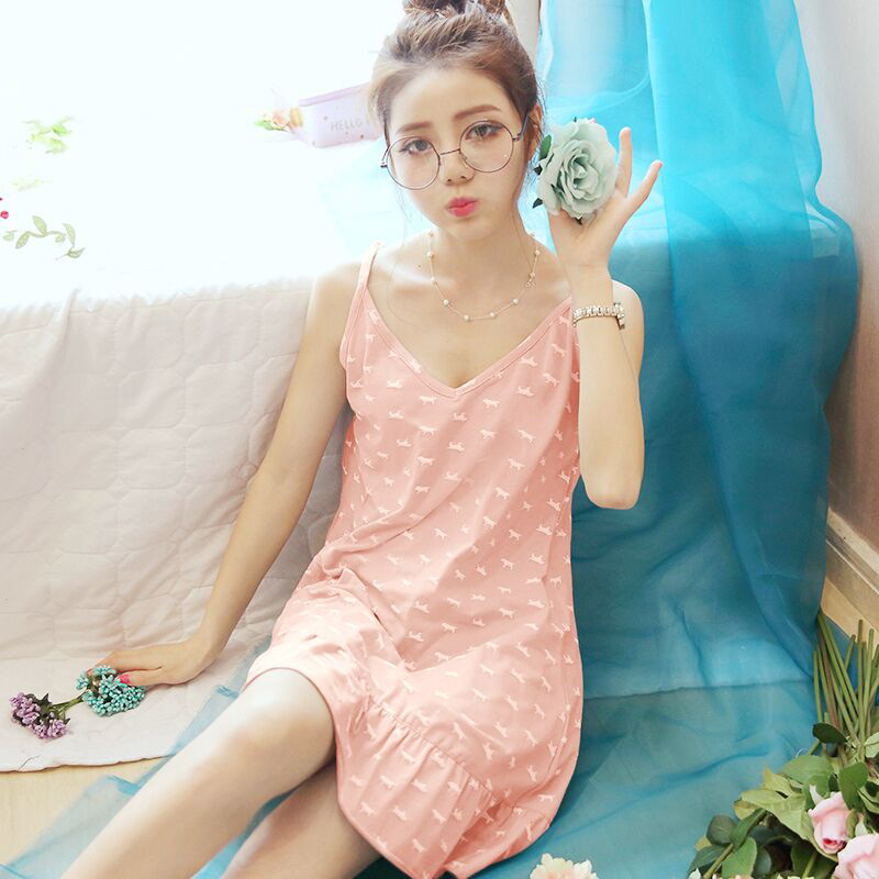 2018 Casual Summer Woman Temperament Sexy Nightdress Lovely Pijamas Girl Dress Temptation Nightshirt Sling Sleepwear