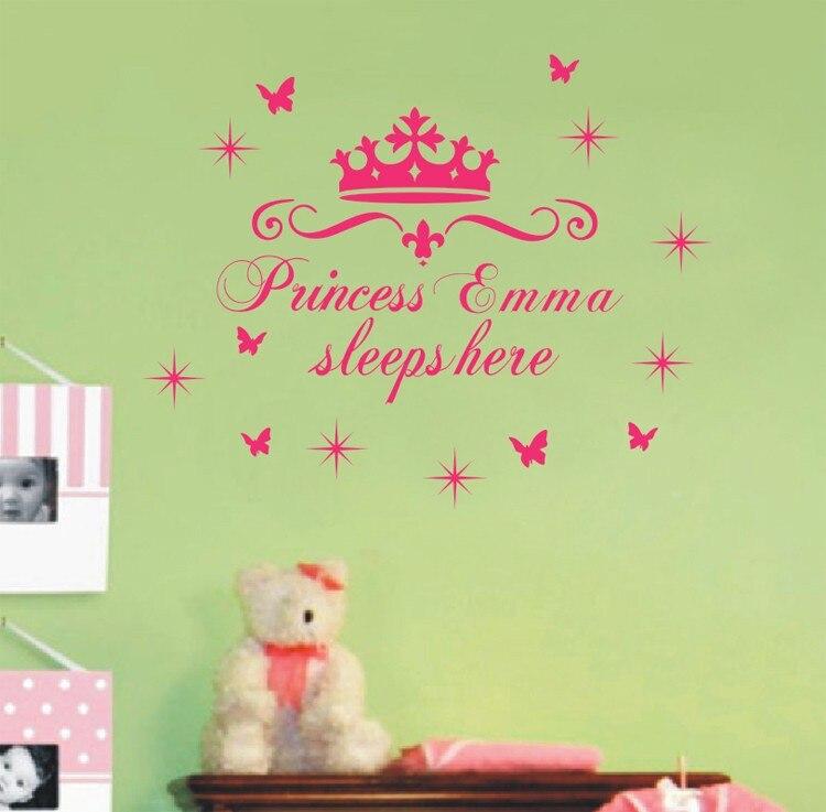 Name princess sleeps here nursery vinyl wall art sticker crown wall