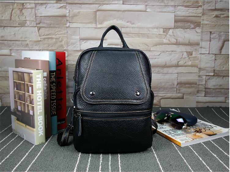 ФОТО Brief litchi grain leather first layer women's casual backback preppy style school bag small genuine leather package