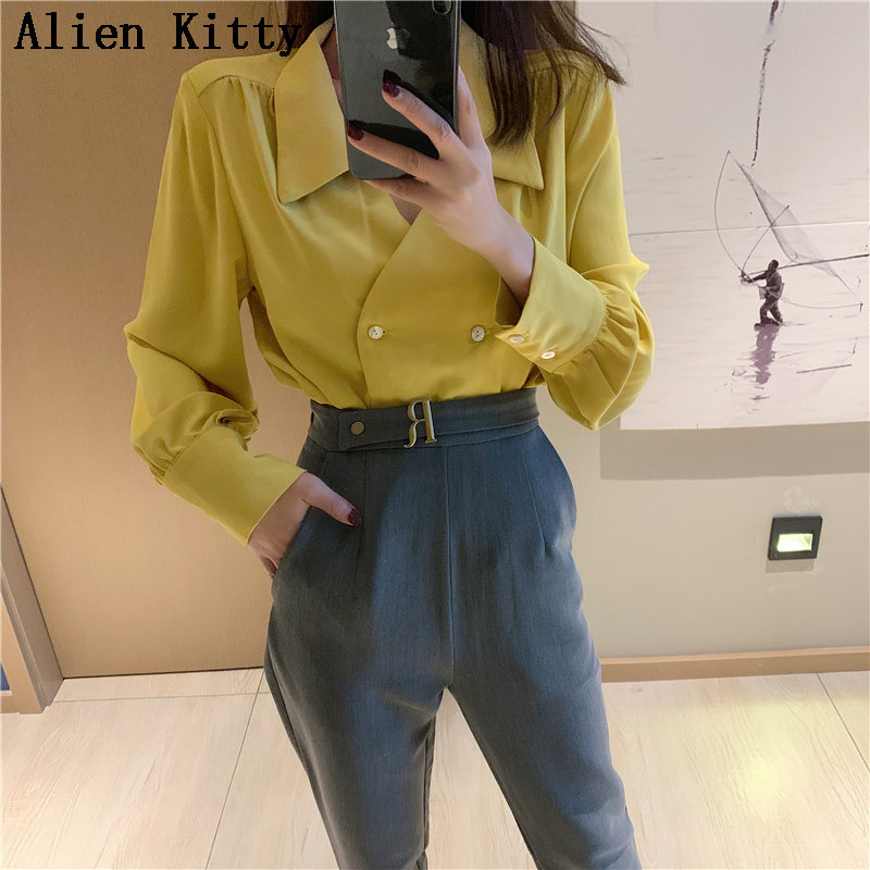 Alien Kitty Hot Elegant Simple Fresh Casual Solid Loose Spring Double Breasted Female Sweet Long Sleeves Chiffon Shirt 2 Colors