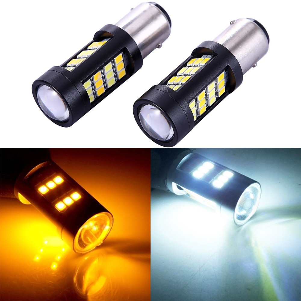 2x P21/5W 1157 BAY15D 42 SMD 2835 LED Wedge Car Turn Led Signal Lamp Light Retrofit External Bulb 12V White Amber Double Color 11571210 68w 1157 4 5w 250lm 68 smd 3528 led white light car light dc 12v 2 pcs