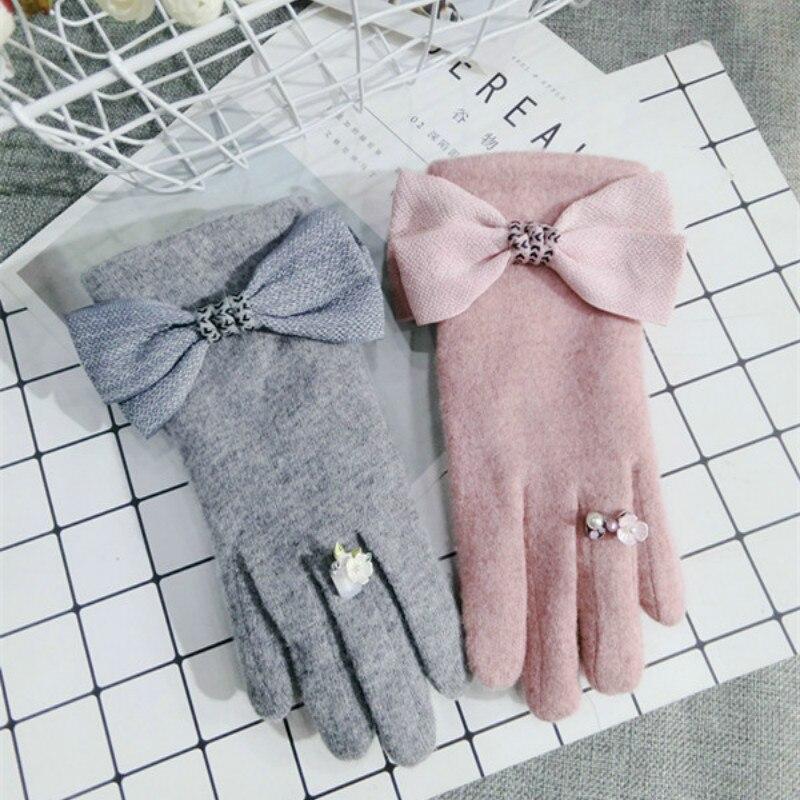 Women Cashmere Winter Black Pink Gray Gloves & Mittens
