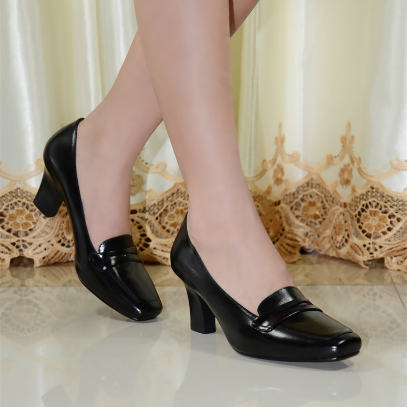 ФОТО Pumps,women pumps,shoes,women shoes, genuine leather med heel dress shoes for women office ladies shoes 2016 new style 9103-1