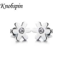 2017 Authentic Stainless steel Dazzling Daisy Stud Earrings with Clear CZ Compatible trendy Jewelry high polished women earrings(China)