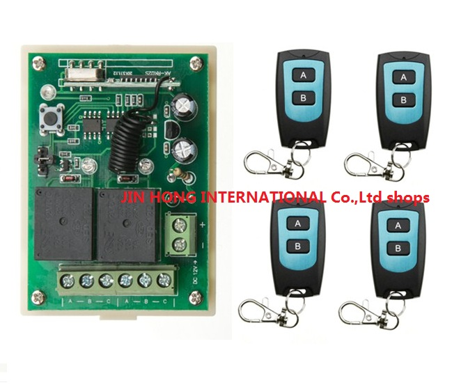 DC12V 2CH RF Wireless Remote Control System teleswitch 4 Transmitter and 1 receiver universal gate remote control radio receiver new dc24v 4ch rf wireless remote control system teleswitch 3 transmitter and 1 receiver universal gate remote control 315 433mhz