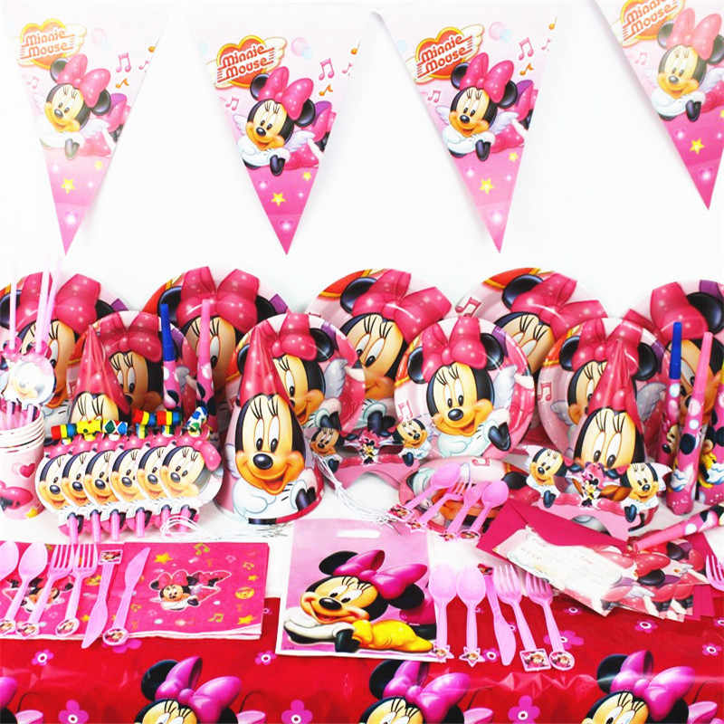 Disney Minnie Mouse Theme Paper Cup Plate Cap Mask Plastic Straw Gift Bag Boy Girl Birthday Party Baby Shower Decoration Supply