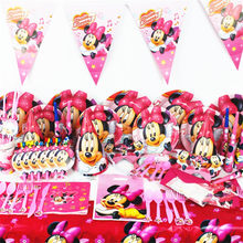 Disney Minnie Mouse Theme Paper Cup Plate Cap Mask Plastic Straw Gift Bag Boy Girl Birthday Party Baby Shower Decoration Supply(China)