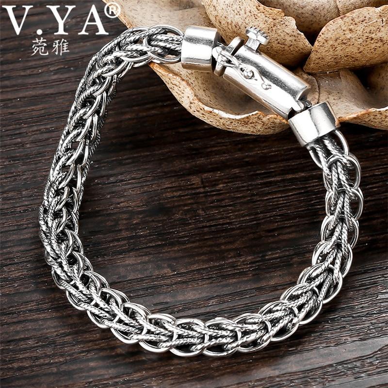 V YA 7 5MM Thick Bracelets Men 925 Sterling Silver Male Bracelet Homme Men s Sterling