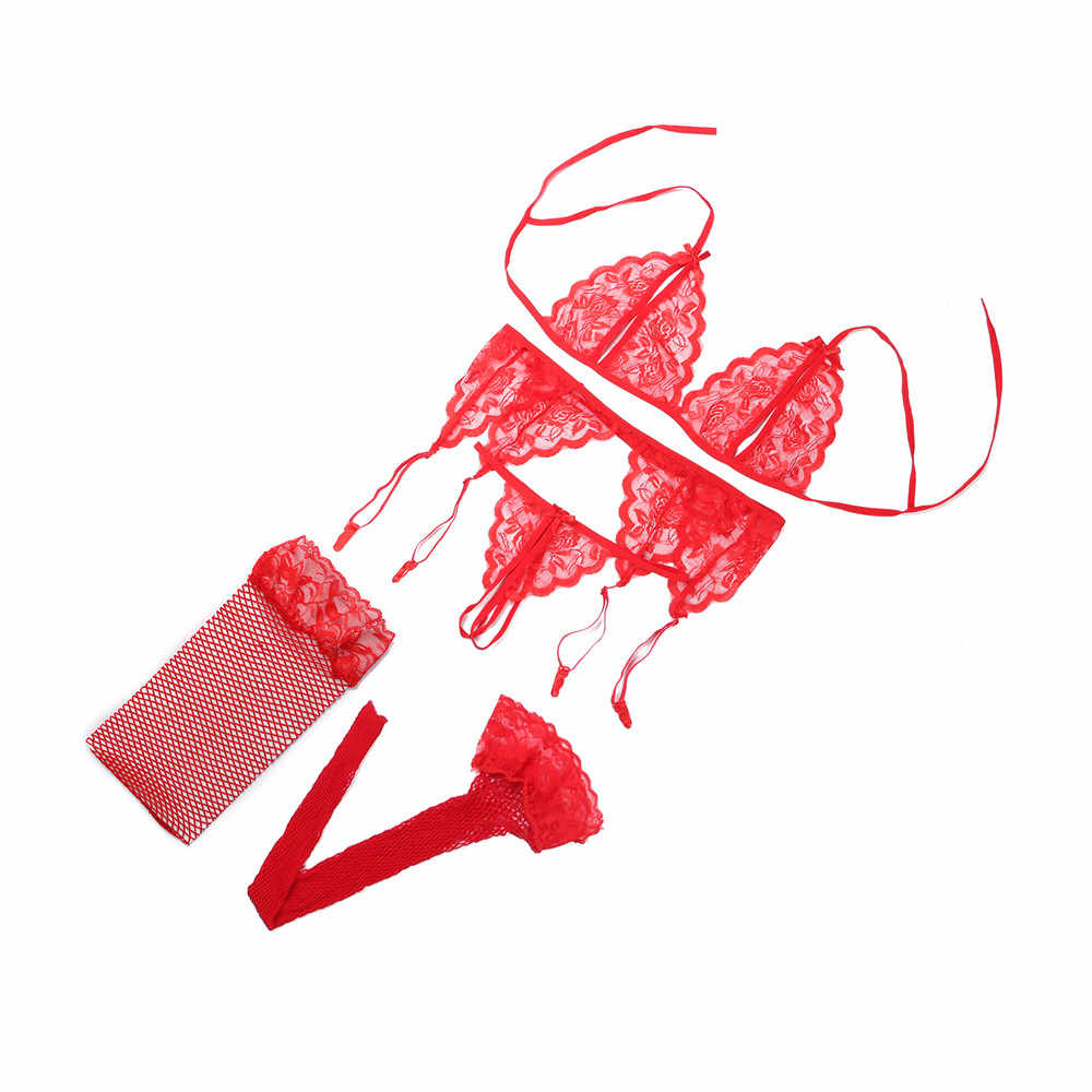 4pcs 섹시 란제리 세트 유혹 레이스 투명 브래지어 세트를 밀어 에로 여성 속옷 브래지어 & g-문자열 & 그물 양말 & 슬링