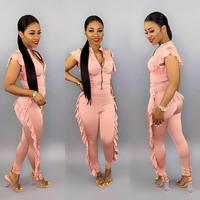 2019 eDressU Ruffle fit Jumpsuits V neck Rompers short sleeves Sexy Hot Siamese trousers Women casual Wear ME Q253
