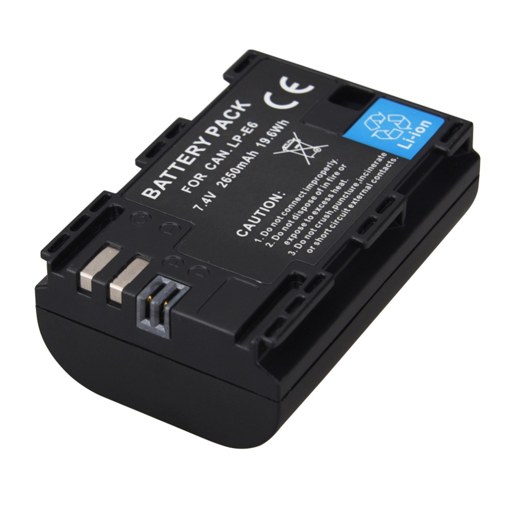 1pc 7.2V 2650mAh LP-E6 Digital Replacement Camera Battery For Canon EOS 5D Mark II 2 III 3 6D 7D 60D 60Da 70D 80D DSLR EOS 5DS