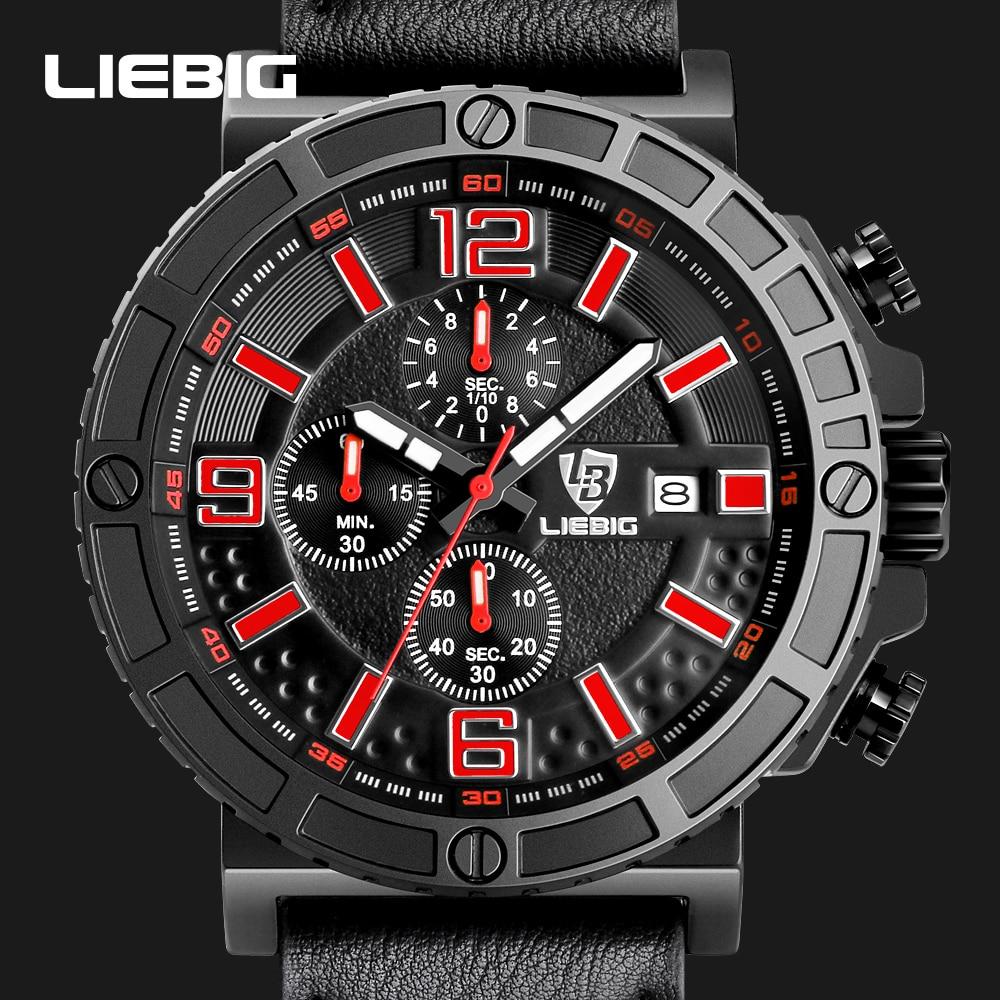 LIEBIG Men Big Dial Military Sports Watches Men's Quartz Wristwatches Fashion Luxury Waterproof Watch Male Relogio Masculino