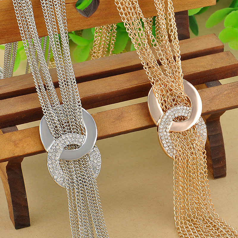 Long Sweater Chain Necklaces Gold Silver Tassel Statement Nes
