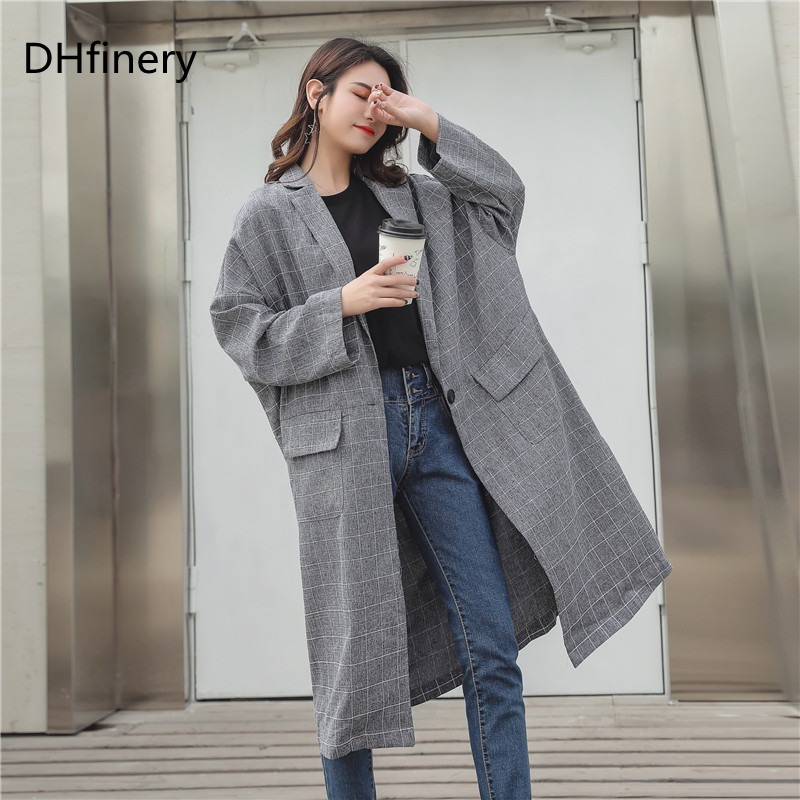 DHfinery Autumn winter   trench   coat women gray Elegant Office Slim Coat for bust 135-160cm plus size XL-3XL B971