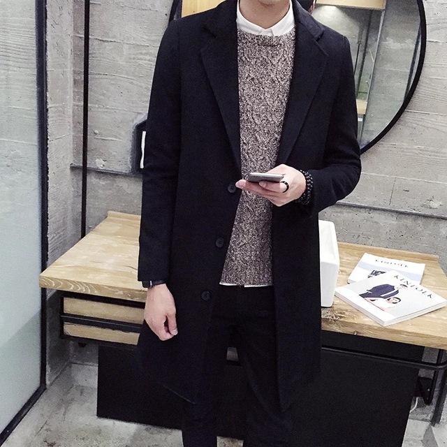 Otoño de moda de color sólido en el abrigo largo con el tamaño de un solo pecho loose-tipo versión de envío libre