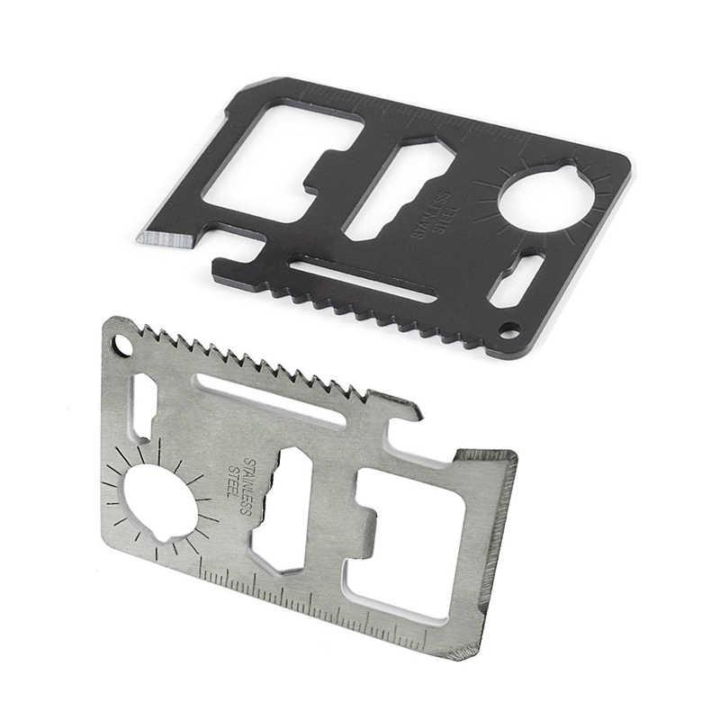 جديد حار 11 في 1 حجم بطاقة الائتمان المحفظة القاطع شفرة الفولاذ المقاوم للصدأ بقاء متعددة المهام فائدة أداة للتخييم التنزه بقاء