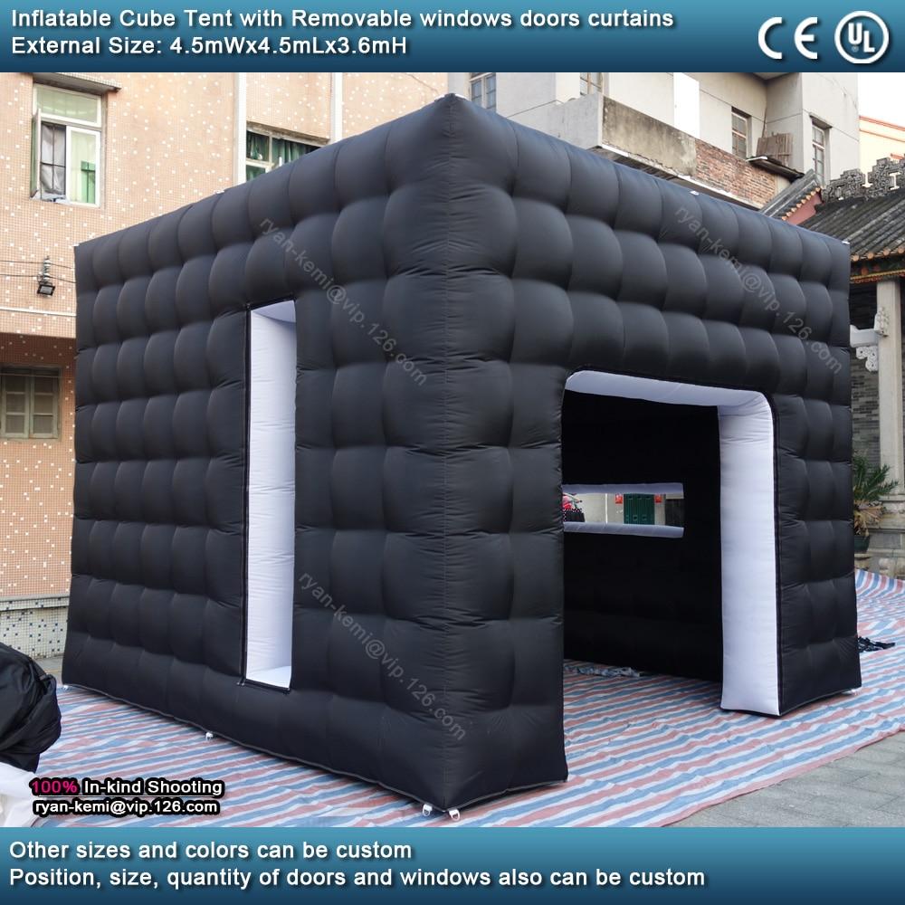 4.5mWx4.5mLx3.6mH noir blanc cube gonflable tente extérieure portable événements salle abri pour salon photo stand