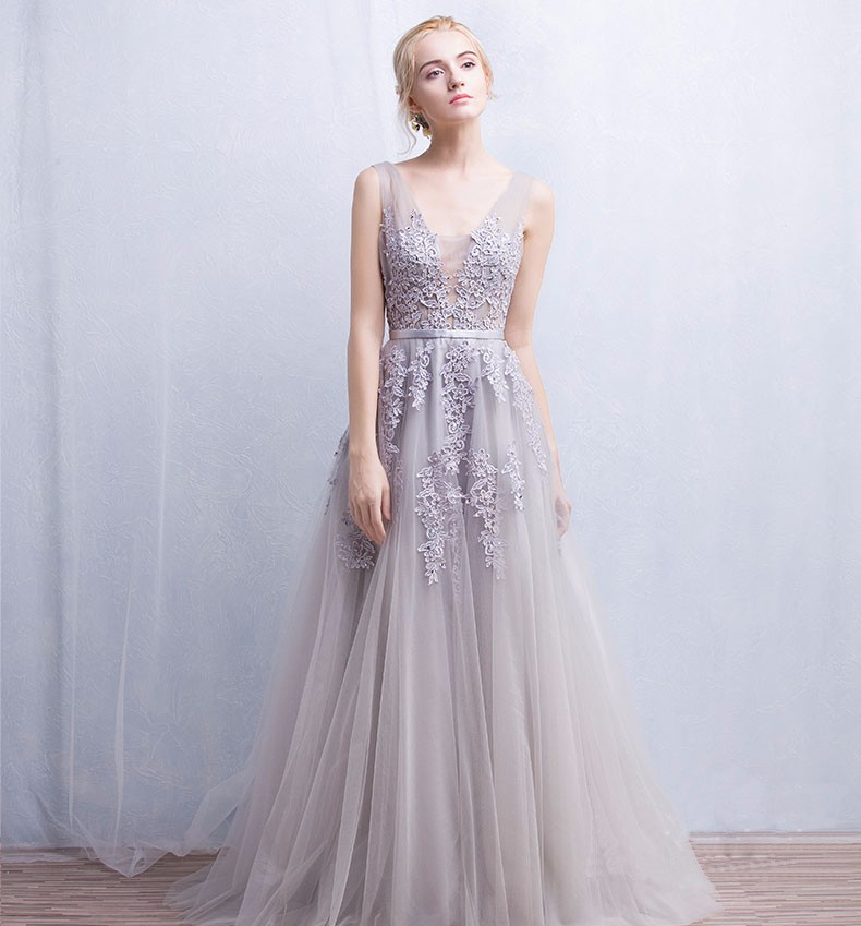V-neck Lace Appliques Long Tulle Evening Dress