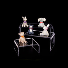 Clear Acrylic Riser Stand Toy Display Collectible Figure Fine China Plates Showcase Jewelry Holder Set of Three