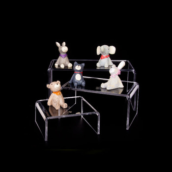 Fine China Sets | Clear Acrylic Riser Stand Toy Display Collectible Figure Fine China Plates Showcase Jewelry Holder Set Of Three