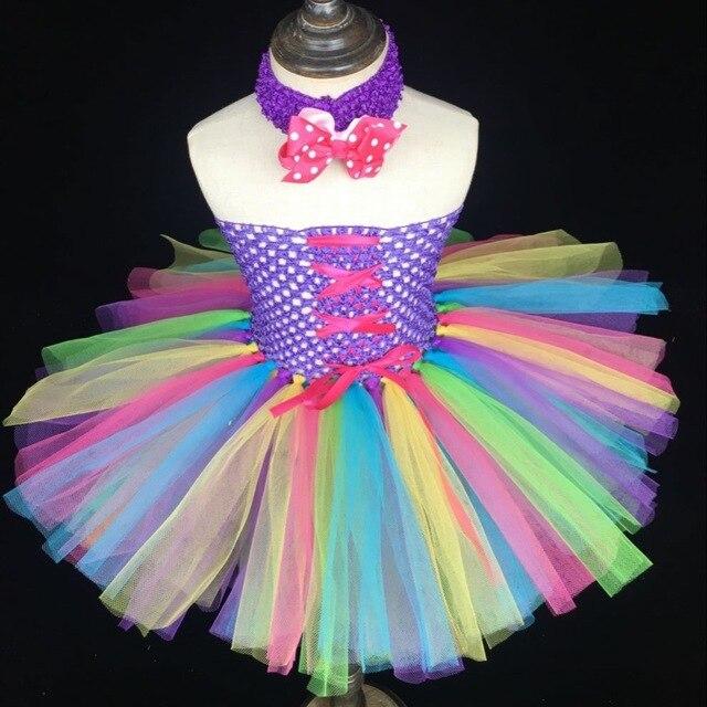 92f87d989 € 8.54 5% de DESCUENTO|Arco Iris Color niñas cinta tutú vestido bebé  mullido 2 capas tul vestido Ballet tutú con puntos lazo diadema niños ...