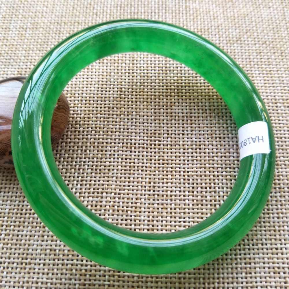 ราคาแพง 58-60 มม. ได้รับการรับรองธรรมชาติ Jadeite หยกสร้อยข้อมือกำไลข้อมือเครื่องประดับ